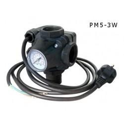 Tlakový spínač PM/5-3W 230V, s kabelem a vidlicí (tlakový spínač s manometrem a třícestnou armaturou - uzel)
